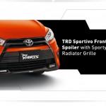 Exterior all new yaris bagian depan - TRD sportif front bumper spoiler dengan Sporty Black Radiator Grille.