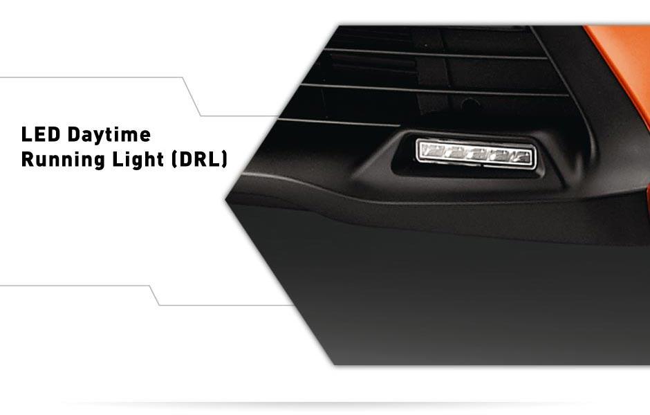 Exterior all new yaris bagian depan - lampu led LED daytime Running Light (DRL).