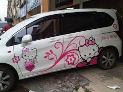 Stiker Mobil Toyota Avanza hello kitty