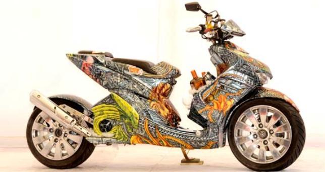 Modifikasi Motor Yamaha mio model spot artistik batik