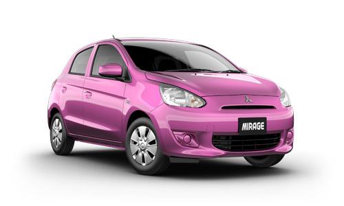 sedan lawas warna pink dan keren Mitsubishi Mirage