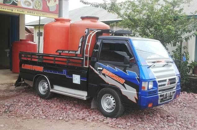 modifikasi mobil  truk pick up mitsubishi l300 hitam keren banget