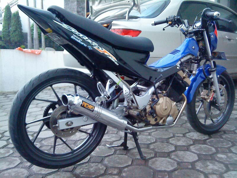 Gambar modifikasi Satria Fu warna biru gaya racing